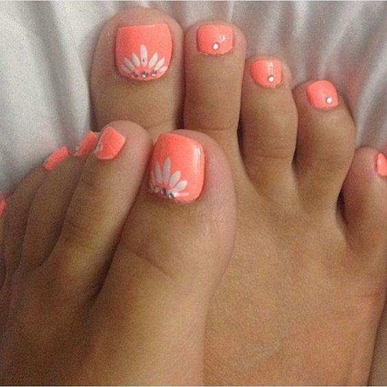 25+ best ideas about Orange toe nails on Pinterest