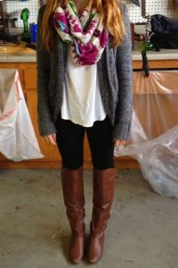 Fall Outfit With Grey Cardigan and Scarf | Geek ...
