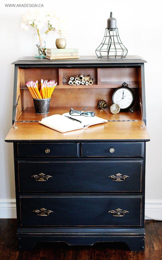Black Painted Roll Top Desk