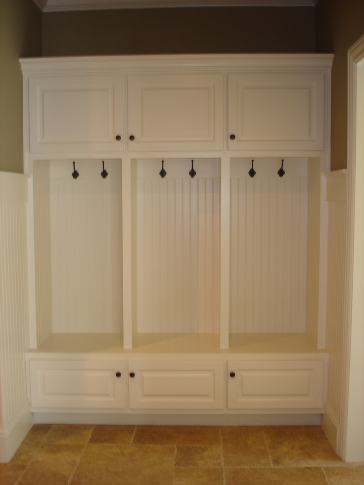 Amish built cabinets for mudroom  INSIDE the McKinney