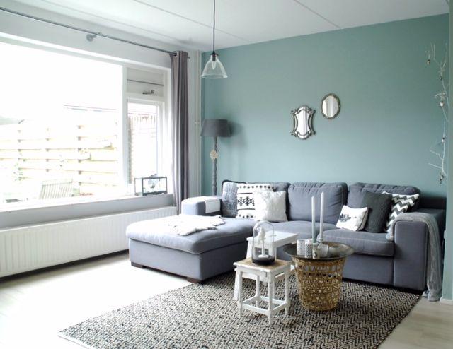 groene wand in huis  Woonkamer Uden  Pinterest