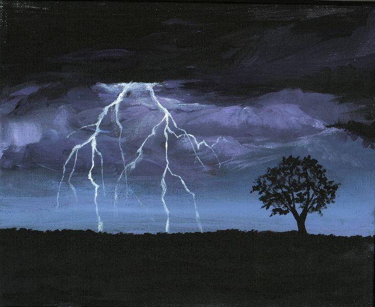 Storm  Acrylic Painting Of Lightning  Erinn's Artwork