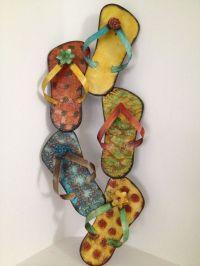 New Flip Flop Sandals Metal Wall Art Beach Decor Cottage ...