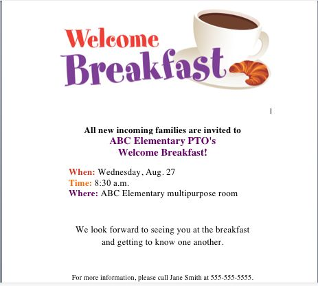 Get Our Welcome Breakfast Flyer On The PTO Today File