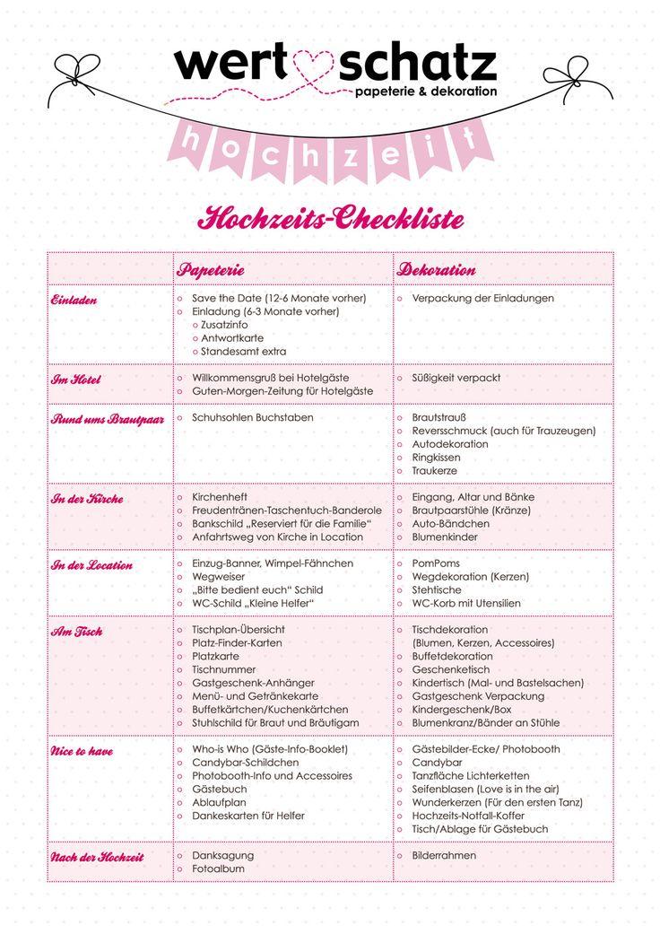 1000 ideas about Checkliste Hochzeit on Pinterest