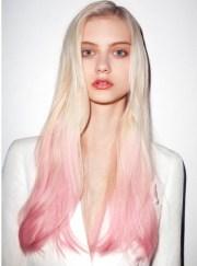 pale pink dip dye hair