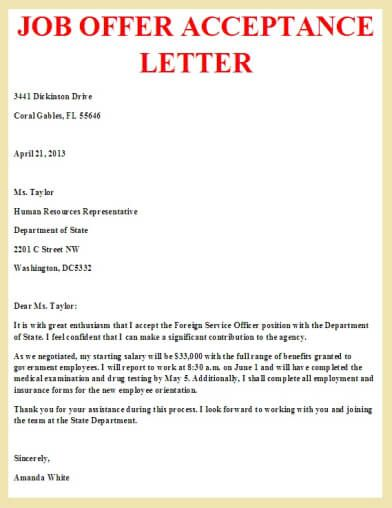 Formal Job Acceptance Letter Template  job acceptance