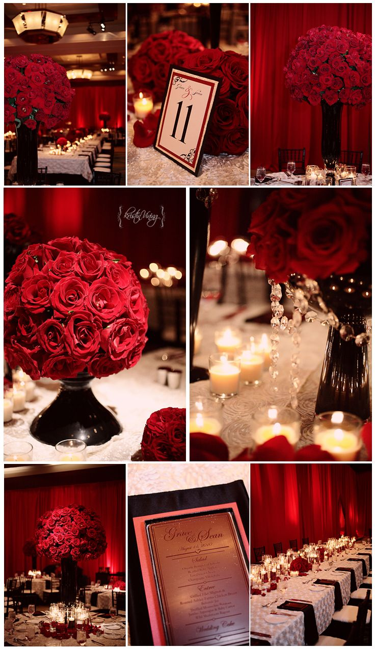 red black and white wedding reception red roses large center pieces rosette textured table