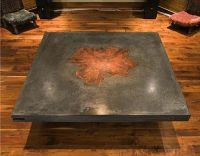 Concrete table with wood inlay. The details are what makes ...