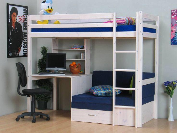 Hoogslaper wit met bureau bank en kussenset blauw Thuka