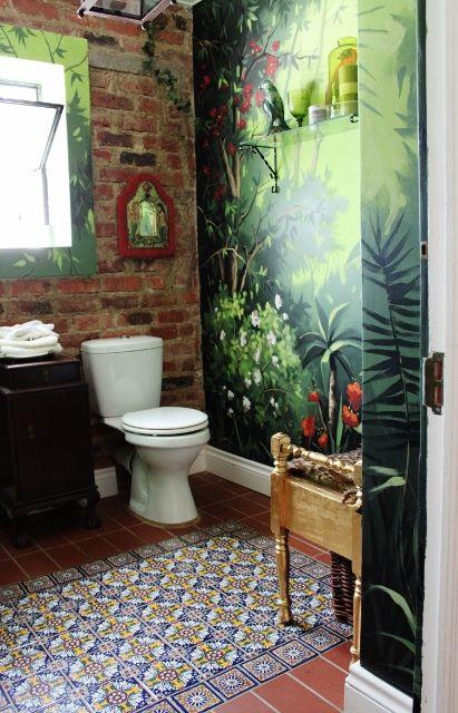 Lovely bathroom with Hadeda Tiles wwwhadedatilescom tiles   Mexican Talavera Tile