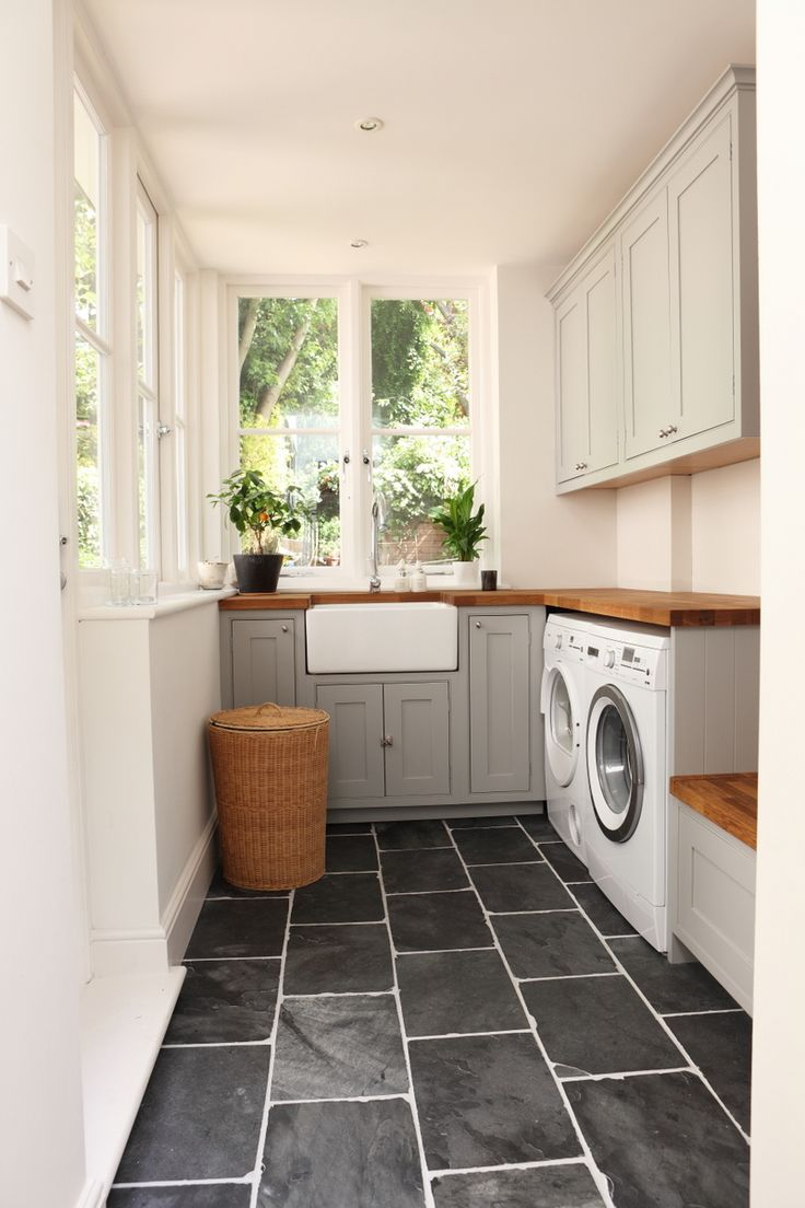 laundry room black slate floors A House Like This