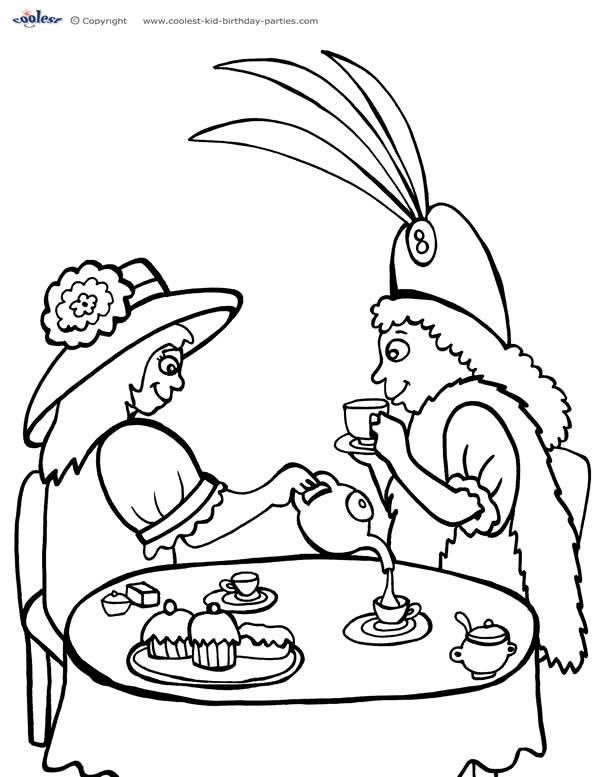 printable tea party coloring page 1  coolest free