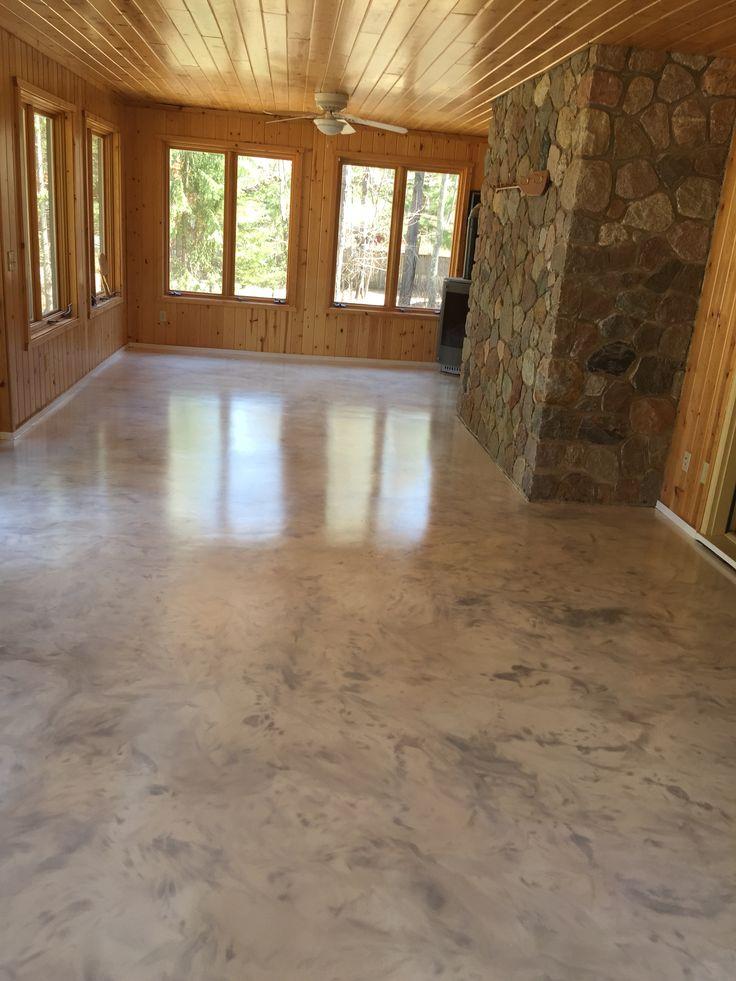 Metallic epoxy floor coating with satin non slip finish by Sierra Concrete Arts  Interior