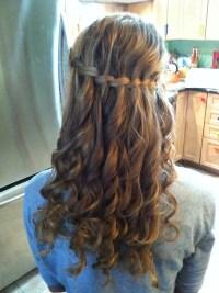 Waterfall braid with curls from straight hair | Hair ...