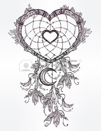 Hand drawn romantic drawing of a heart shaped dream