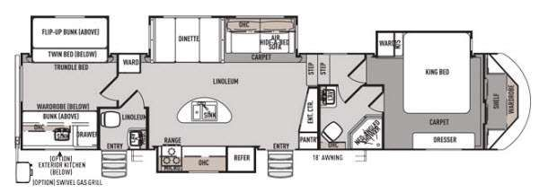 Forest river campers bunkhouse king bed and 2 bath 5th wheel floor plans  Google Search  camping  Pinterest  Rv and Rv living