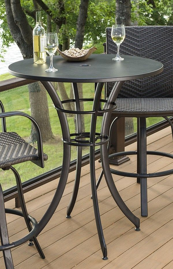Maximize space on your deck with this round pub table and