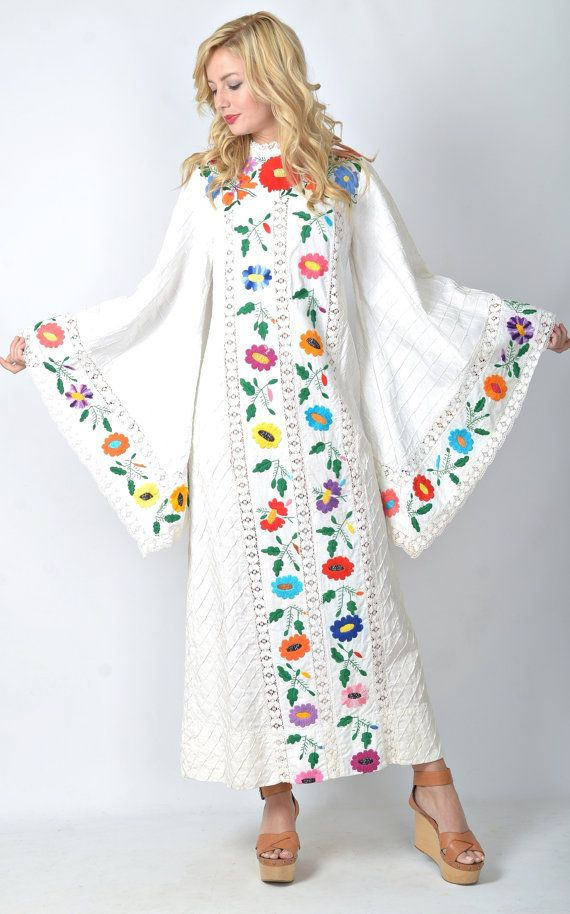 Vintage 70s Mexican Embroidered Hippie Wedding Dress Angel