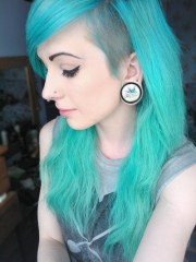 aqua hair with shaved side