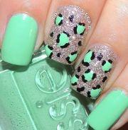 cool cheetah glitter teal nail