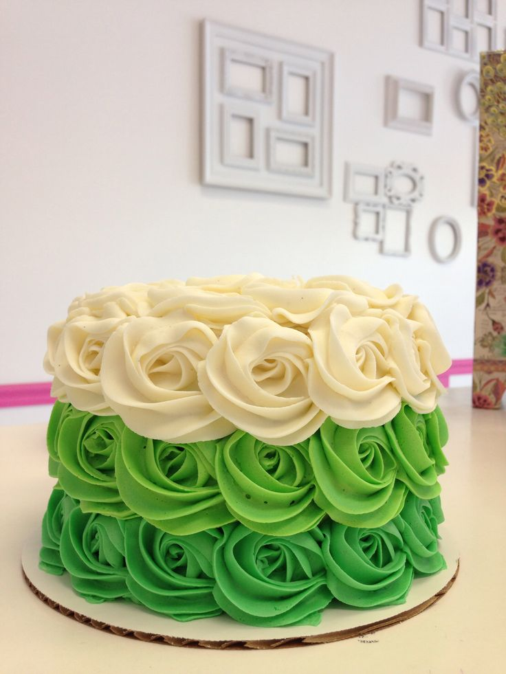 Green Ombr 233 Rosette Cake By Goodie Girls Goodie Girls
