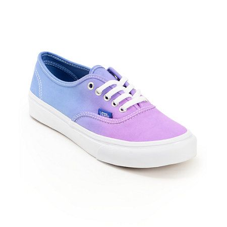 Keep your look timeless with a pop of color in the Vans Authentic Purple Ombre shoes for girls. The canvas upper is in a Purple