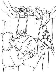 free coloring bible pictureof jesus healing the paralized