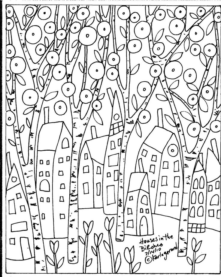RUG HOOK PAPER PATTERN Houses In The Birches FOLK ART