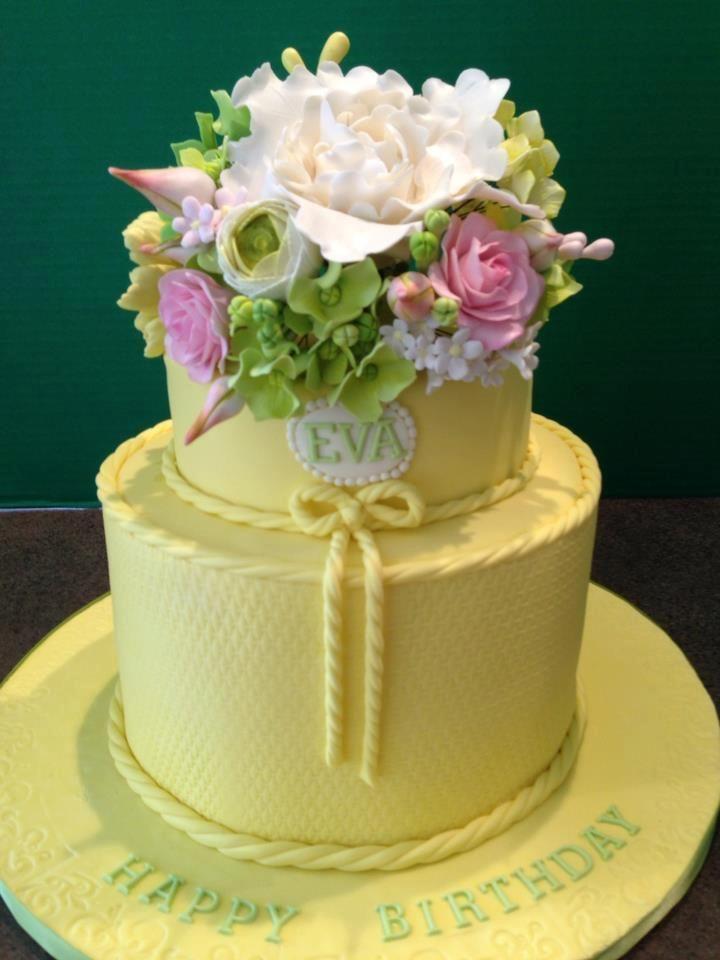 Yellow 2 Tier 80th Birthday Cake With Gumpaste Flowers