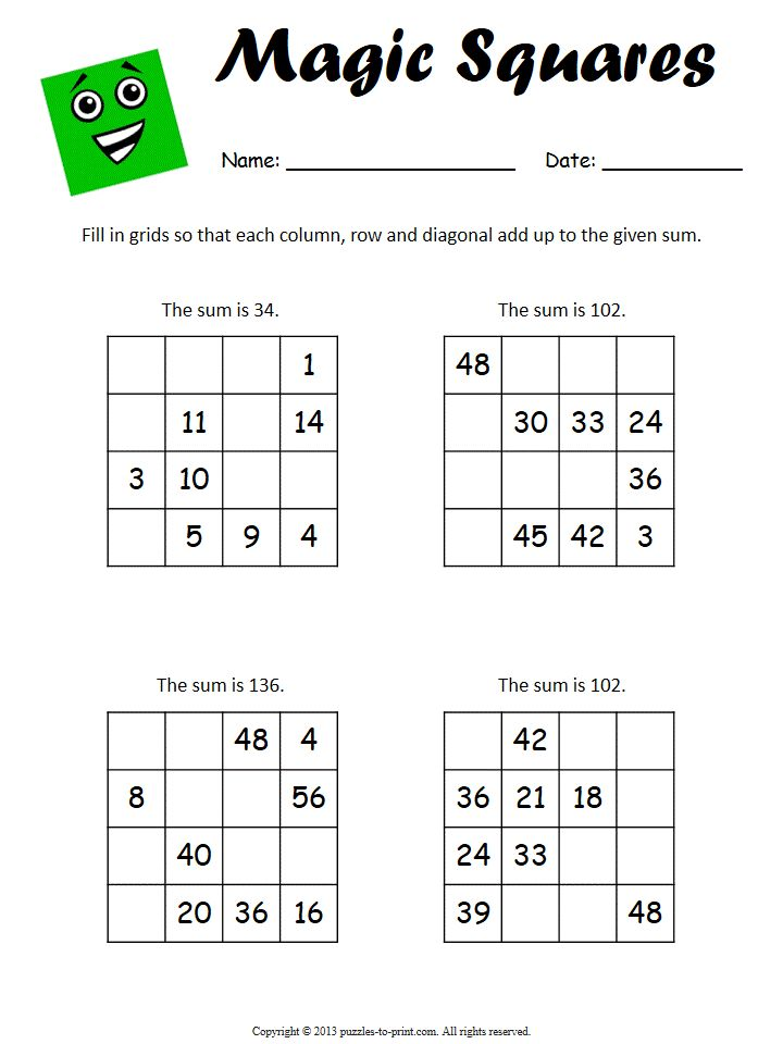 Worksheets, Number puzzles and Squares on Pinterest