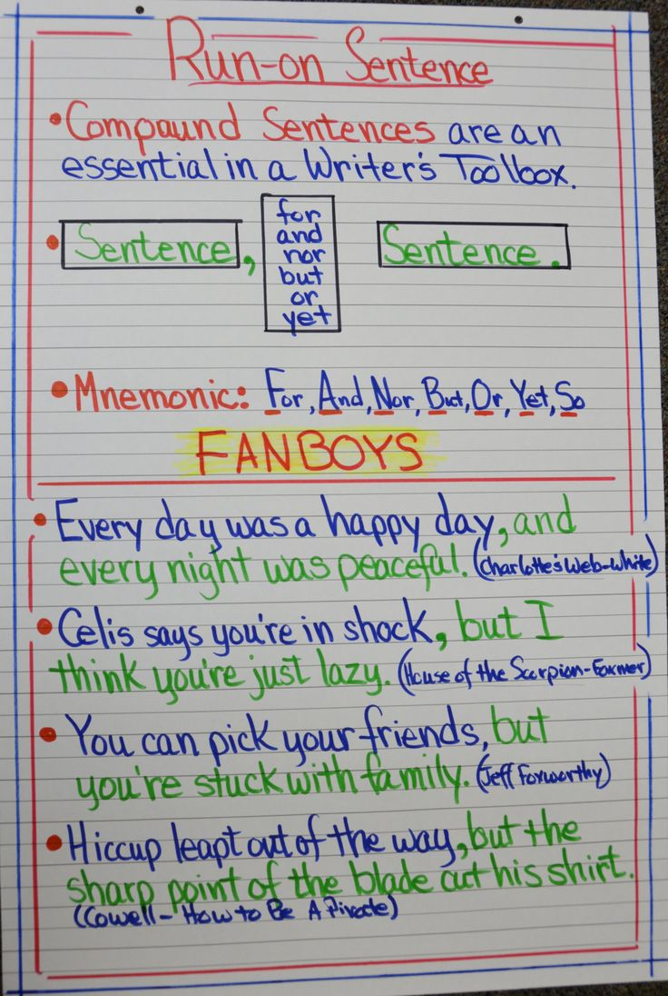 Runon Sentences  Anchor Charts  Pinterest  Charts, Anchors And Studentcentered Resources