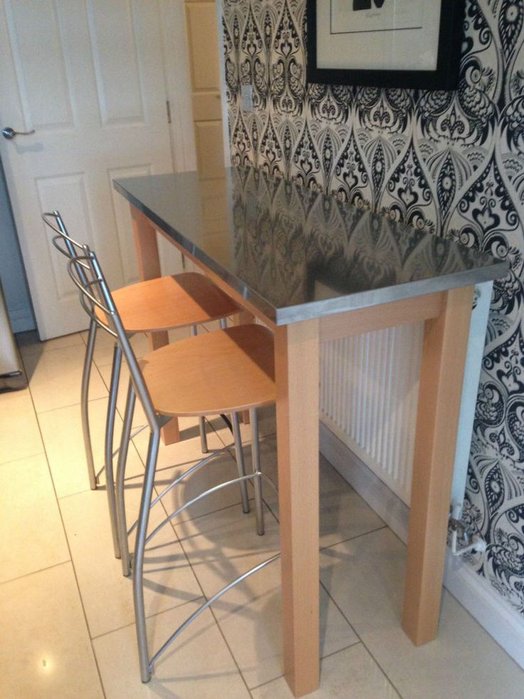 Breakfast bar table and 2 high chairs