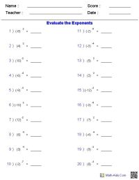 Free Fun High School Math Worksheets - order of operations ...