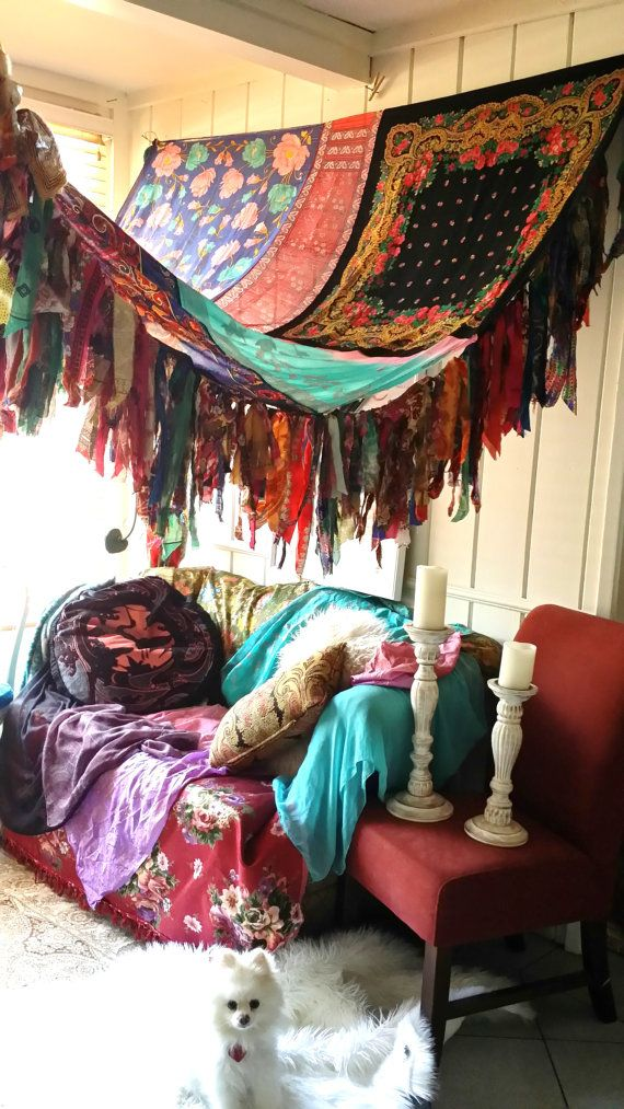 Boho Bedroom Patio Canopy Bohemian hippy vtg bed scarves Gypsy hippie patchwork meditation