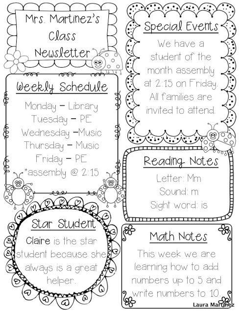 25+ best ideas about Kindergarten newsletter on Pinterest