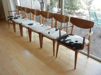 Set of Six 6 Mid-Century Modern Dining Chairs Cowhide ...