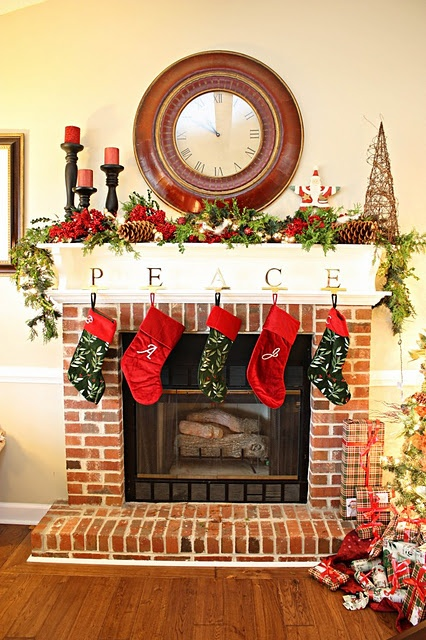 Love the brick fireplace with white mantle  For the Home  Pinterest  Christmas mantles