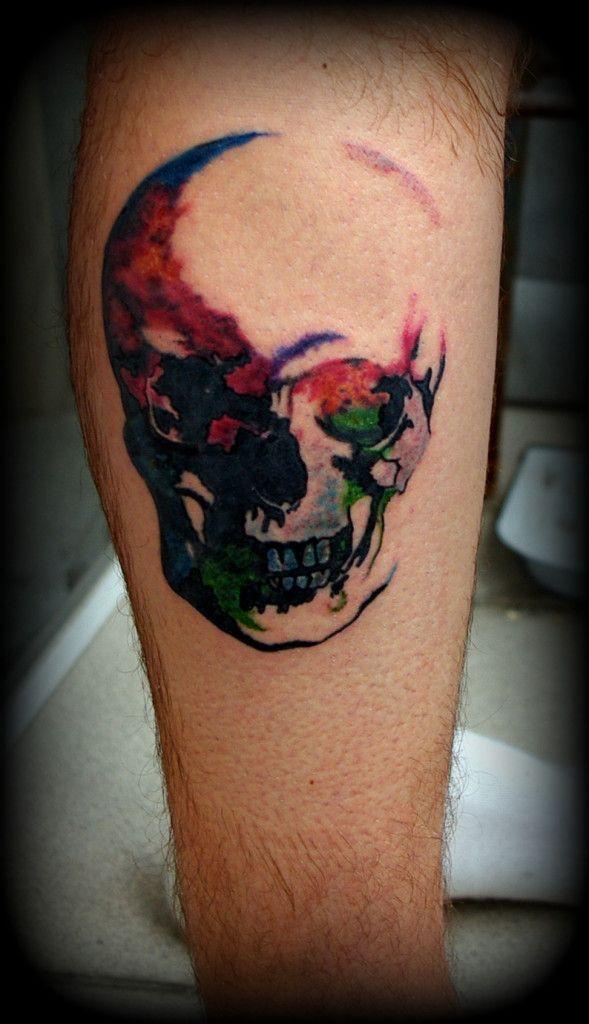 skull watercolor tattoo. cool