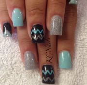 tiffany blue black & silver solid