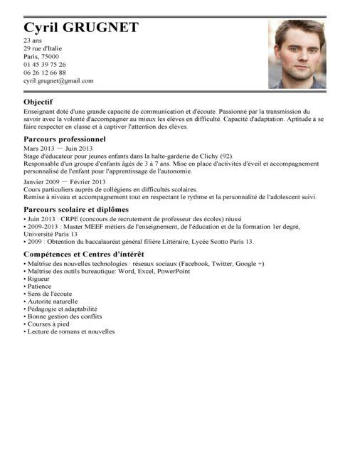 image lettre de motivation enseignant contractuel modele cv