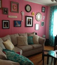 Pink and Teal living room, gallery wall | Decor ...