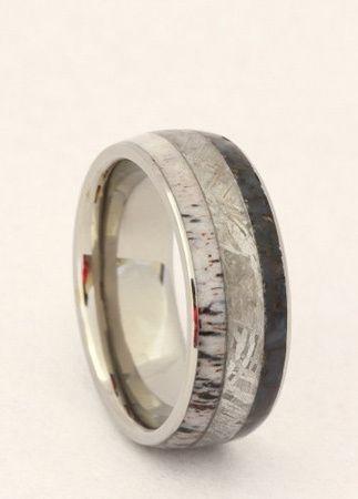 Wedding Rings Made Of Dinosaur Bone Meteorite And Deer