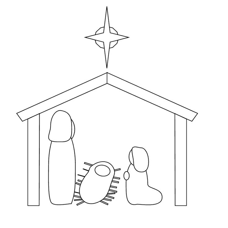 nativity scene to color for Shrinky Dink ornament