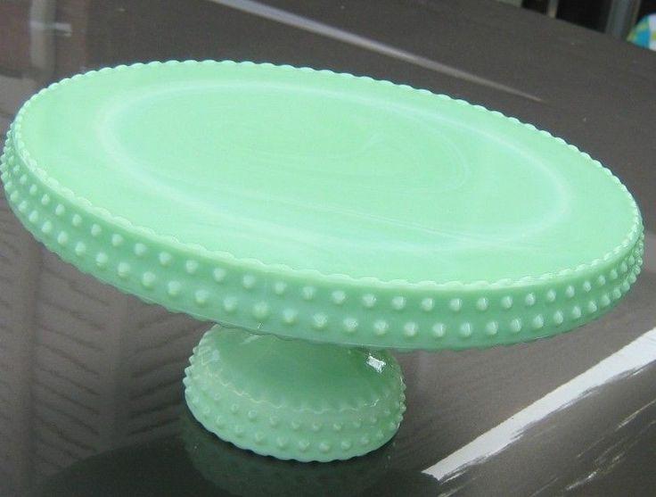 Vintage LE Smith Jadeite Jade Hobnail Marble Swirl Cake