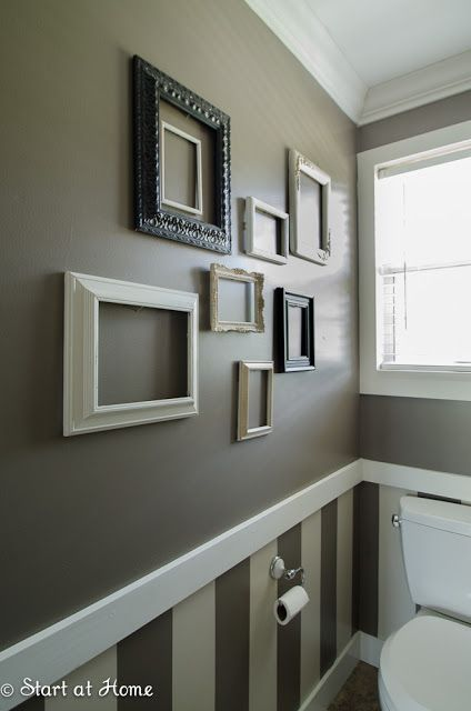 Half Bath Love the molding strip with wallpaper and paint  bathrooms  Pinterest  Paint