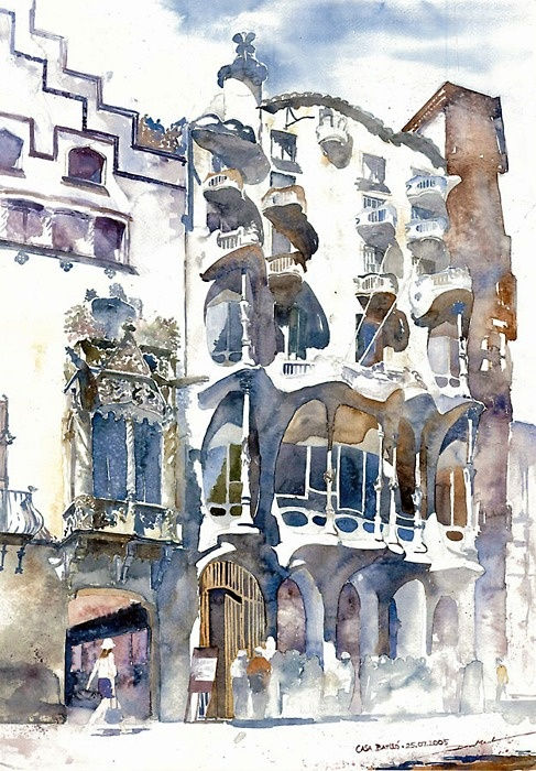 CASA BATLLO Illustration by Minh Dam  ARCHITECTURE DRAWING AND PAINTING  Pinterest