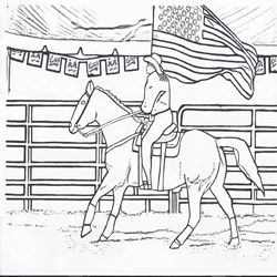 Click to get my free printable rodeo flag girl coloring