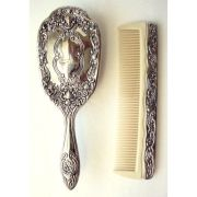 vintage hair brush and comb silver