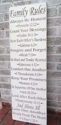 Bible scripture art FAMILY RULES sign | Canvas DIY ...